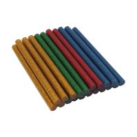 hot melt glue, 4 colors with glitter - red, yellow, blue, green 7,5 x 100mm, 20 pcs