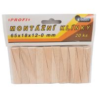 assembly wedge,wood,package 20pcs,65x18x12-0mm