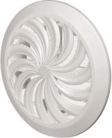 ventilation grille, plastic, white, round, fan-shaped ribbing, mesh,O 135 / 100 mm
