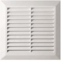 ventilation grille, plastic, white, square,mesh,200 x 200 / 160 x 160 mm, outlet O 150 mm