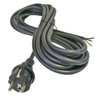 flexo cord, rubber, black, straight plug, indivisible, 3 m, cable 3 x 1.5 mm