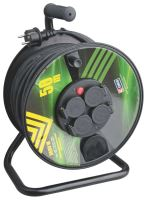 extension cord,rubber,black,on the unwinding drum,4 sockets,thermal fuse,50 m, ~ 230 V/16A