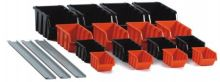 ecobox,plastic,16 pcs, with hanging, plastic rail 3 pcs