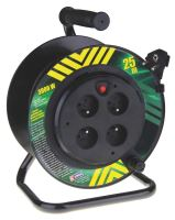 extension cord,PVC,black,on the unwinding drum,4 sockets,solid center,25 m, ~ 230 V/13A