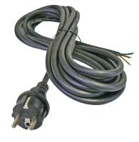 flexo cord, rubber, black, straight plug, indivisible, 5 m, cable 3 x 1.5 mm
