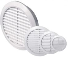 ventilation grille, plastic, round, O 125 / 104 mm