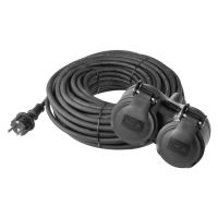 extension cable, rubber, 2 sockets, 15 m, 250 V ~ / 16 A, IP 44