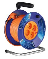 cable extension, orange, on the unwinding drum, 4 sockets 50 m, ~ 230 V / 16 A